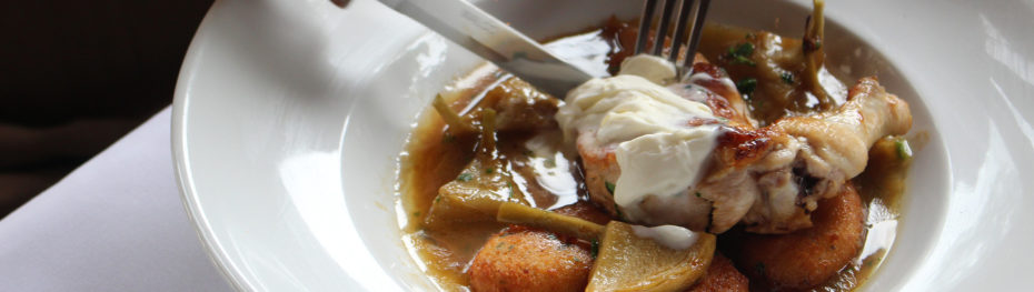 Roasted Chicken with Fresh Artichokes, Tarragon, Jus